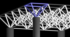 Simplified space frame roof with the half-octahedron highlighted in blue Truss Structure, Steel Structure Buildings, Fabric Structure, Space Truss, Sawtooth Roof, Roof Truss Design, Materials And Structures, Space Frame, Roof Trusses