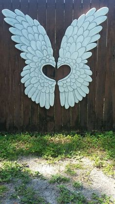 Wood Carved Angel Wings OOAK Gorgeous Large and by HeatherMBC