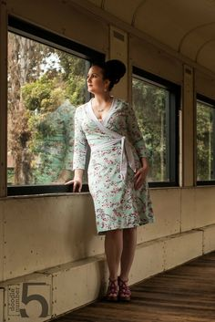 Diana Wrap dress PDF sewing pattern Cherry blossom print