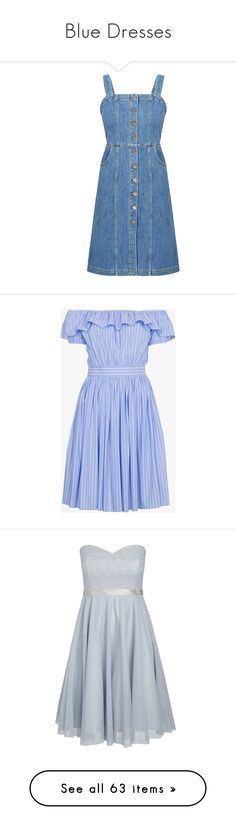 """Blue Dresses"" by skinny-jeannie ❤ liked on Polyvore featuring dresses, denim, blue, blue fitted dress, blue dress, denim dresses, tight blue dress, tight denim dress, knee length skater skirt and blue off the shoulder dress"