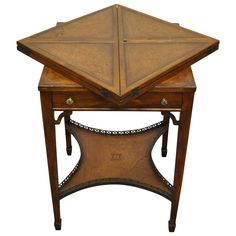 Quality 20th Century English Tooled Leather Napkin Folding Game or Side Table | See more antique and modern Card Tables and Tea Tables at https://www.1stdibs.com/furniture/tables/card-tables-tea-tables