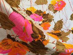 60's Bright Screen Printed Floral Fabric  45 W x