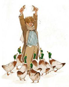 Aziraphale feeding the ducks - art by tio-trile on Tumblr.