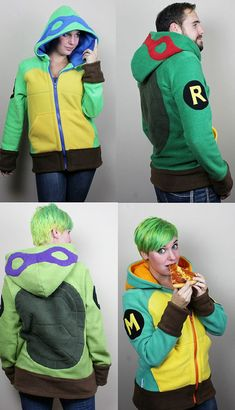 Grab the pizza and get ready to crank up the turtle power with the Teenage Mutant Ninja Turtle Fleece Hoodies, featuring everybody's four favorite heroes in a halfshell who feel the need to wear colorful masks to hide their identit