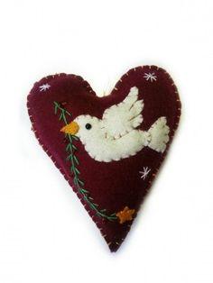 4.5″ Heart Shaped Dove Design Ornament | Little Handcrafts