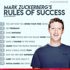 Mark Zuckerbergs rules for success. Mark Z If you agree with this do double tap… Mark Zuckerbergs rules for success. Mark Z If you agree with this do double tap