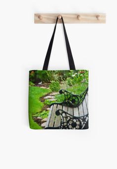 Scroll Garden Bench Scene - Digital Oil by Sandra Foster. A great tote bag gift for the gardener.