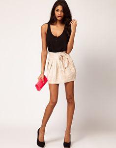 ASOS Metallic Mini Skirt with Deep Waistband