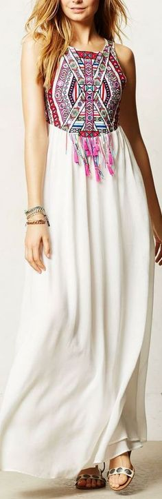 White Tribe Print BOHO Style Sleeveless Maxi Dress