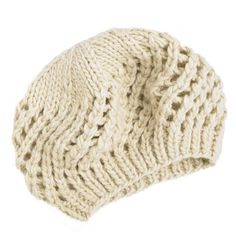Cream crochet knit beret (110 UAH) ❤ liked on Polyvore featuring accessories, hats, women's clothing, knit beret hat, beanie cap, knit beanie, beret hat and knit beanie caps