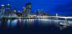 Brisbane city at night looking from South Bank.