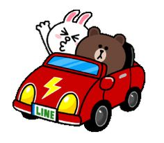 Brown & Cony Drives Off! Cartoon Stickers, Cute Stickers, Cony Brown, Cute Love Gif, Cartoon Quotes, Line Friends, Cute Teddy Bears, Gif Pictures, Line Sticker