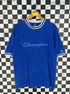 b99fe085a Vintage CHAMPION Og Tshirt Unisex Medium 90 s Champion Usa Athletic Apparel  Script Logo Sportswear Blue Champion Streetwear Tshirt Size M