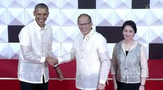 Barong Tagalog made by Paul Cabral for US Pres Barack Obama & Philippine Pres Benigno Aquino Jr at the APEC 2015 hosted by the Philippines Barong Tagalog, President Of The Philippines, Filipiniana Dress, Us Presidents, Political Campaign, Barack Obama, Coat, Jr, How To Wear