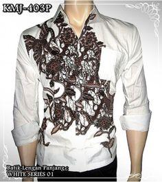 www.rajapadmistore.com Baju batik pria lengan panjang warna putih bahan Katun Primissima halus motif White Series KMJ-403P only Rp 69.000.  #batiklenganpanjang #batikonlineshop
