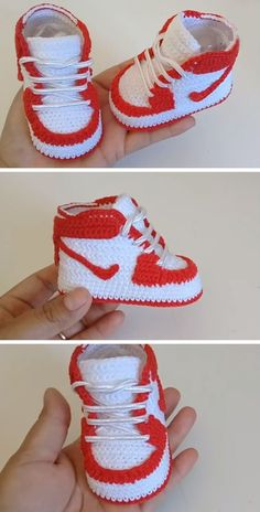 Crochet baby 353110427031996881 - Crochet Nike Air Source by remlyns Crochet Baby Boots, Crochet Baby Sandals, Booties Crochet, Crochet Baby Clothes, Crochet Shoes, Crochet Slippers, Baby Booties, Baby Shoes Pattern, Shoe Pattern
