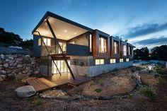 Outside of luxury ecofriendly family house in Warragul, Australia