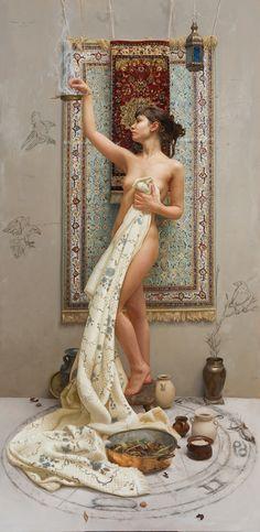 "La casa de las brujas by ARANTZAZU MARTINEZ. 71"" x 35"" / 180 x 90 cm. Oil on linen. Museo Europeo de Arte Moderno http://www.arantzazumartinez.com/work.html#La%20casa%20de%20las%20brujas (Thx Alexis)"