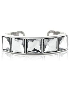 Jessica Simpson Bracelet, Silver-Tone Faceted Crystal Cuff Bracelet - Fashion Bracelets - Jewelry & Watches - Macy's