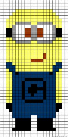 MInion Despicable me perler bead pattern - would work as a cross stitch pattern too by christine Pearler Bead Patterns, Bead Loom Patterns, Perler Patterns, Beading Patterns, Knitting Patterns, Cross Stitch Charts, Cross Stitch Patterns, Cross Stitching, Cross Stitch Embroidery