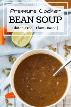 A quick and affordable pressure cooker recipe, this Instant Pot Bean Soup recipe is plant-based, delicious, and ready in about an hour! Make it for a quick and healthy dinner, or add it to your weekly menu as a plant-based recipe the whole family will love. #beansoup #instantpotrecipe #pressurecooker #budgetmeals #driedbeans