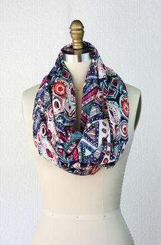 Infinity Scarf: Graphic Pattern Scarf - Pink White Blue Black Printed Boho Scarf - Boho Chic Scarf - Loop Scarf