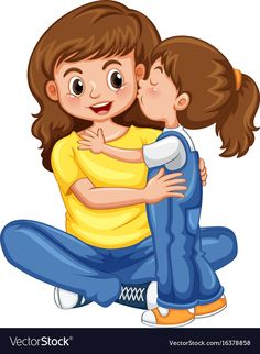 Daughter kissing her mother Mother Clipart, School Frame, Kids Background, Picture Story, Cute Cartoon Wallpapers, Illustrations, Mothers Love, Cartoon Kids, Free Vector Art