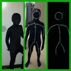 My son went as a stick person for Halloween using a Morph Suit