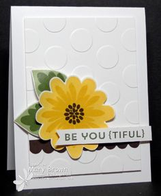 handmade card featuring  a lovely yellow flower using the Flower Patch bundle ... luv tone on tone stamping when die cutting ... no white halo ... clean and simple design ... like it! ... Stampin' Up!