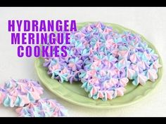 No matter how old we all get, our moms will always appreciate a homemade gift most of all. Follow that instinct and add a grown-up twist with these Hydrangea Meringue Cookies from Haniela's. They look as lovely as they taste, and are sure to bring a smile to Mom's face! You'll Need: - 4 egg whites, room temperature - 1 Meringue Desserts, Cookie Desserts, Brownie Cookies, Rose Meringue Cookies, Just Desserts, Flower Cookies, Delicious Desserts, Yummy Cookies, Cookie Recipes