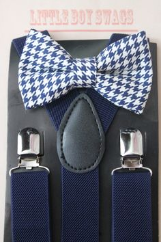 Navy Houndstooth Bow Tie with Navy di LittleBoySwag su Etsy