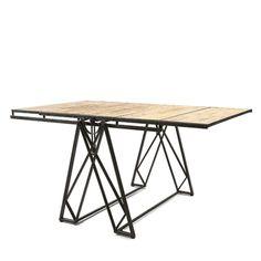 Wood & Metal Convertible Shelf Table.
