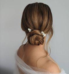 Beautiful bridal updo using dainty hair pins by Celinadoredesigns Bridal Updo, Wedding Updo, Wedding Make Up, Wedding Nails, Wedding Bouquets, Wedding Things, Outside Wedding, Wedding Reception, Wedding Venues