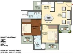 Floor Plan- 1075 sqft :2 Bhk+2 Bath+3 Balconies
