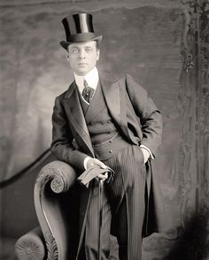 You are viewing an intriguing picture of Well Dressed Man, with top hat, gloves, and a cane. It was taken between 1905 and 1945 by Harris & Ewing. #tophat  #suit  #sophistication