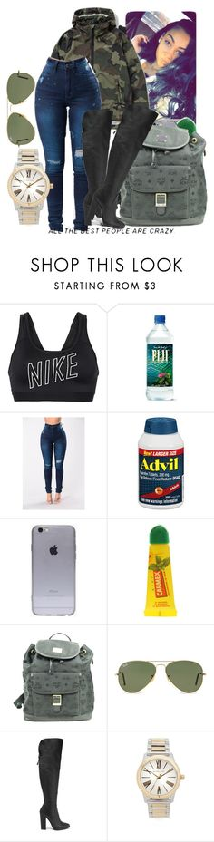"""""""school// Nessa"""" by th3-qu33n-25 on Polyvore featuring NIKE, Stussy, Therapy, Carmex, MCM, Ray-Ban, Giuseppe Zanotti and Michael Kors"""