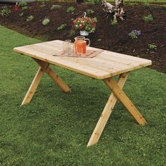 Outdoor A & L Furniture Western Red Cedar Crossleg Picnic Table Redwood - 203C-RS REDWOOD STAIN-WITHOUT HOLE