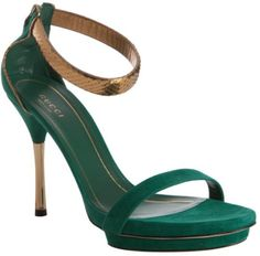 Gucci Green Emerald Suede Snakeskin Ankle Strap Sandals