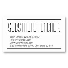 modern simple substitute teacher business card - Substitute Teacher Business Cards