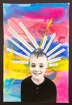 Art lessons for kids, self-portrait lesson, mixed-media, collage, 2nd grade artwork, art lessons, elementary art lessons, self portraits, photo collage