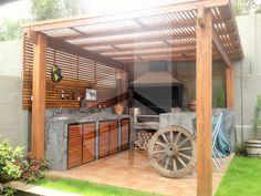 Resultado de imagen para quinchos Barbacoa, Ideas Para, Deck, Outdoor Structures, Porches, Garden Ideas, Dreams, Kitchen, Vertical Garden Design