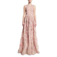 Elie Saab Sleeveless Embroidered Silk Gown ($15,950) ❤ liked on Polyvore featuring dresses, gowns, elie saab, opal, floral embroidered dresses, a line dress, short evening dresses, long silk dress and pink silk dress