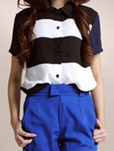 Black And White Wide Striped Chiffon Short Sleeve Blouse