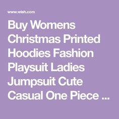 Buy Womens Christmas Printed Hoodies Fashion Playsuit Ladies Jumpsuit Cute Casual One Piece Snow Pocket Jumpsuits Home Living Warm Playsuit at Wish - Shopping Made Fun