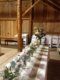 Country chic tablescape, we will use simple blush/whites fresh roses, peonies, daisies, babys breath... In low arrangements, jars and silk/burlap flowers, votive candles, displayed on crystal trays, sprinkled with rose petals. Soooo Pretty