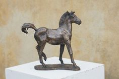 #Bronze #sculpture by #sculptor Yanina Antsulevich titled: 'The Foal (bronze Frisky Young Horse sculptures/statues/statuettes)'. #YaninaAntsulevich