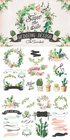 #Wedding #graphic set with succulents
