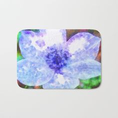 #Blue #Anemone #Watercolor #BathMat by taiche | Society6 #bathroondecor #homedecor #themeddecor #UKHashtags #Bizitalk #ATSocialMedia Featuring a soft, quick-dry microfiber surface, memory foam cushion and skid-proof backing. https://society6.com/product/blue-anemone-watercolor_bath-mat?curator=taiche