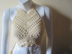 CROCHET HALTER TOP Cropped top  Swimsuit top by Elegantcrochets