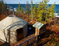 Union Bay Yurt on the shore of Lake Superior within the Porcupine Mountains Park. Yurt Camping, Outdoor Camping, Vacation Trips, Vacation Spots, Michigan State Parks, Michigan Travel, Places To Travel, Places To Go, Union Bay